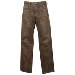 Men's NEIL BARRETT Size 31 Brown Dirty Wash Painted Cotton Jeans
