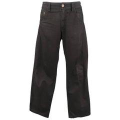 Men's KENZO Size 31 Black Cotton Embroidered Stripe Chino Pants