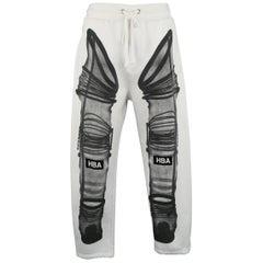 Men's HOOD BY AIR Size M White Black Astronaut X Ray Print Cotton Sweatpants