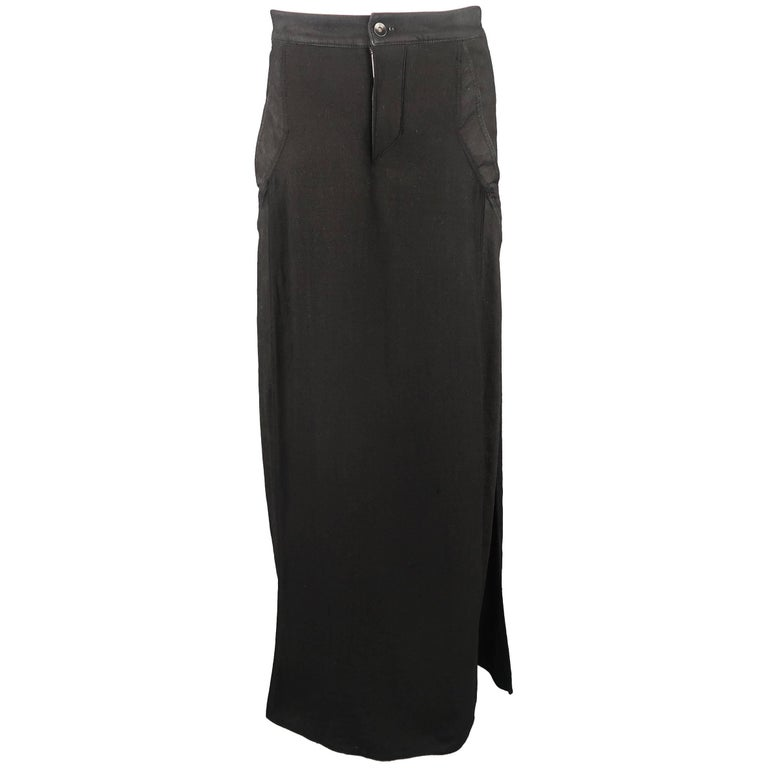 Men's GARETH PUGH Size 30 Black Skirt Panel Overlay Skinny Jean Pants