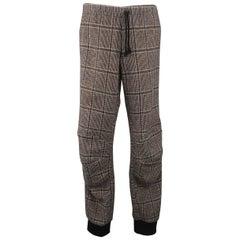 Men's DRIES VAN NOTEN Size 34 Beige Glenplaid Wool Drawstring Knee Pad Joggers