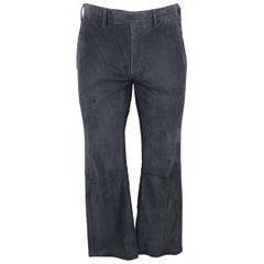 Men's JOHN VARVATOS Size 32 Navy Blue Suede Top Stitch Trim Casual Pants