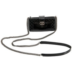 Chanel Black Patent Boy Reverso Mini Pochette Crossbody Bag