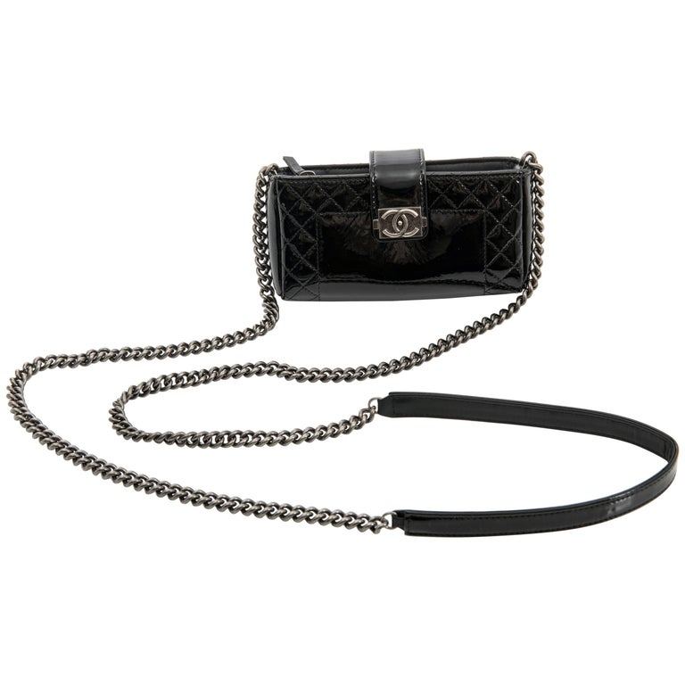 Chanel Black Patent Boy Reverso Mini Pochette Crossbody Bag For Sale