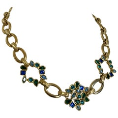 Vintage Yves Saint Laurent, YSL Golden Chain Necklace with Blue and Green Stones