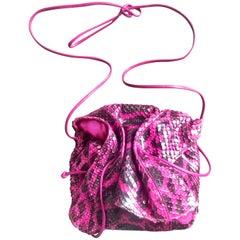 Carlos Falchi Vintage genuine pink and black combo snakeskin shoulder bag