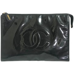 Chanel Vintage classic black patent enamel document bag / large clutch purse
