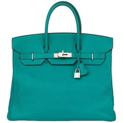 2009 Hermes Blue Paon Chevre Mysore Leather Birkin 36cm HAC