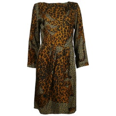 Yves Saint Laurent YSL Rive Gauche Vintage Leopard Print Dress