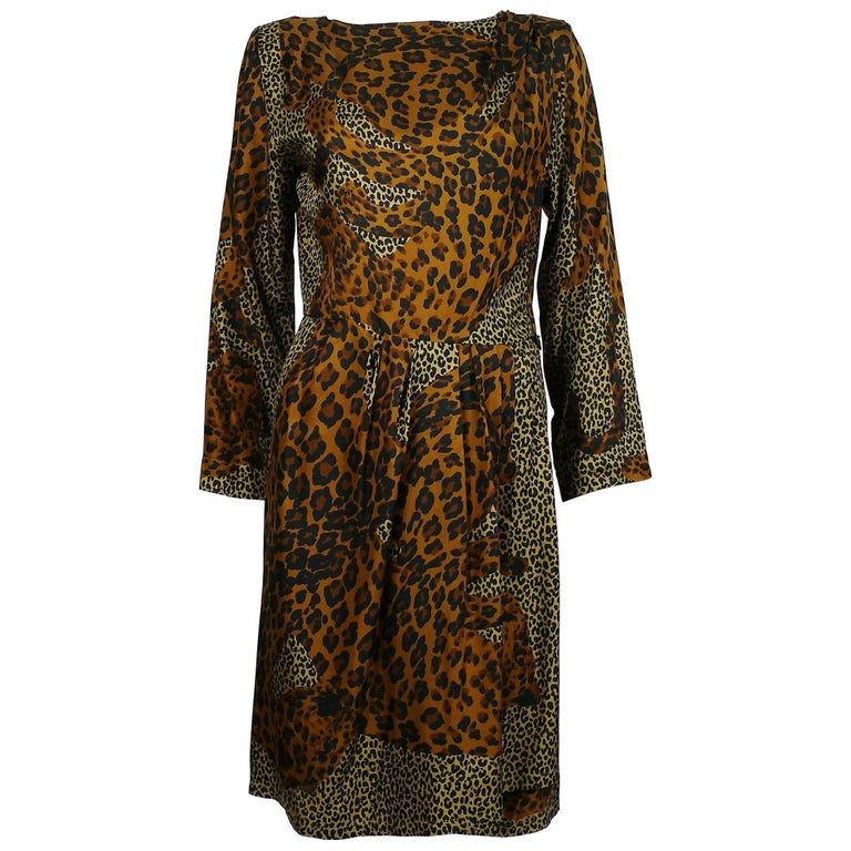 ea34972528e Yves Saint Laurent YSL Rive Gauche Vintage Leopard Print Dress For Sale