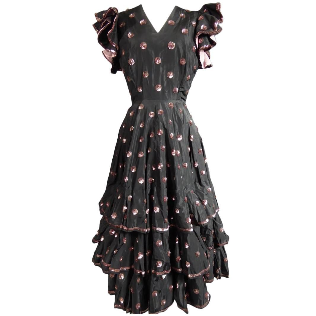 A French Jacques Heim Haute Couture Dress numbered 15365 Circa 1950