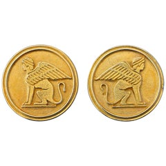 Gold Plated Vintage Sphinx Clip On Statement Earrings