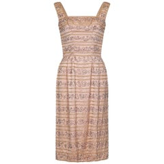 Ceil Chapman 1950s Peach Silk Dress With Beading and Velvet Ribbon Appliqué