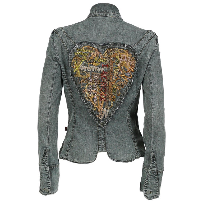 Christian Lacroix Vintage Embroidered and Jeweled Heart Denim Jacket