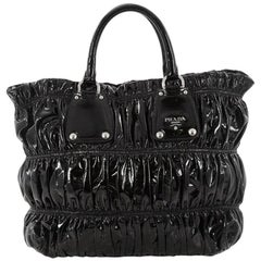 Prada Gaufre Convertible Tote Patent Medium