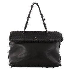 Bottega Veneta Tiina Bag Fringe Leather with Intrecciato Detail Large