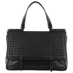 Bottega Veneta Monaco Convertible Satchel Leather with Intrecciato Detail Medium