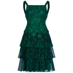Vintage 1960s Green Dropped Waist Dress With Layered Ruffle Skirt