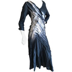 Issey Miyake Vintage Ombre Cotton Pleated Diagonal Dress with Lace Up Details