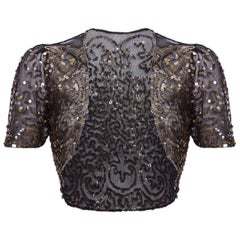 1930s Black Tulle and Gold Sequinned Capelet Bolero