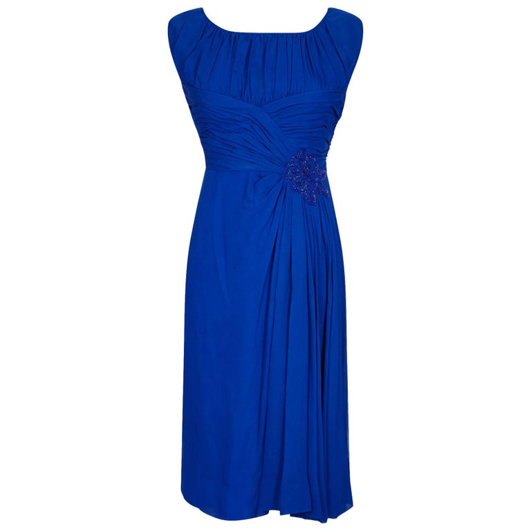 1950s Couture Cobalt Blue Silk Chiffon Evening Dress With Matching Slip For Sale