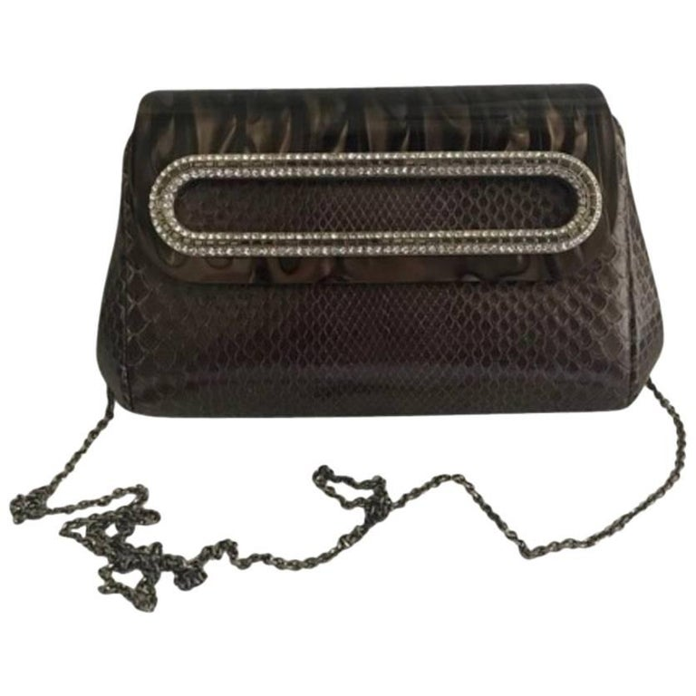 Judith Leiber Brown Python Cross Body Bag For Sale