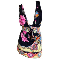 Leonard Paris Silk Jersey Mikado Print Dress or Tunic with Belt New with Tags