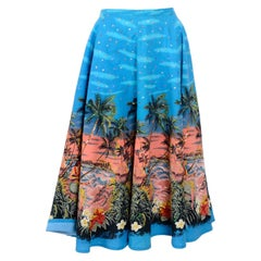 Vintage 1950s sequined Hawaiian print full circle cotton skirt