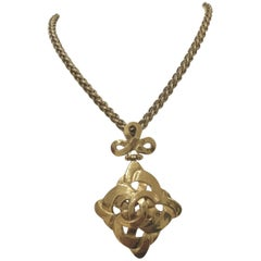 Chanel Gold tone Rhombus Necklace