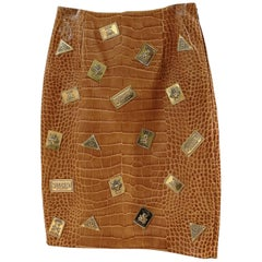 Moschino Couture Brown Leather Skirt