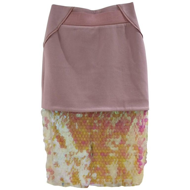 Three Floor Pink Sequines Skirt
