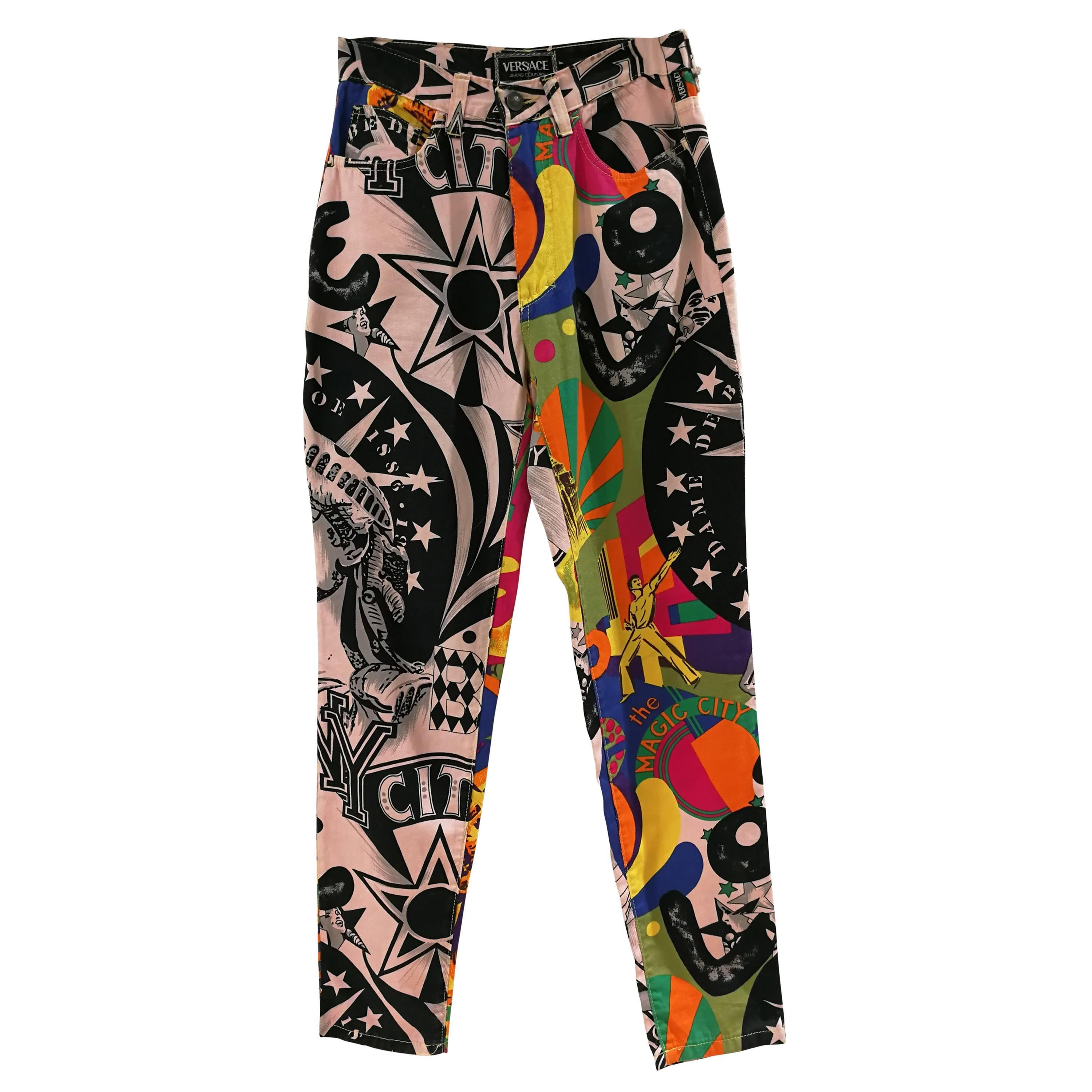 denim and leather skinny trousers - Multicolour Versace vyZW0