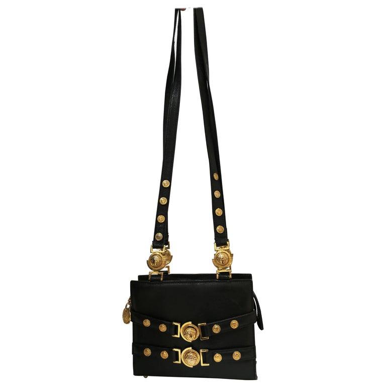 Gianni Versace black leather gold studs Shoulder Bag