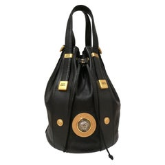 Gianni Versace Black leather Gold and Silver Tone Studs Satchel - Shoulder Bag
