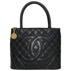 Chanel Caviar Black Leather Medallion Handbag with Gold Hardware