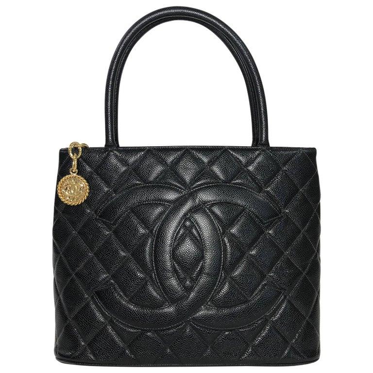 Chanel Caviar Black Leather Medallion Handbag with Gold Hardware