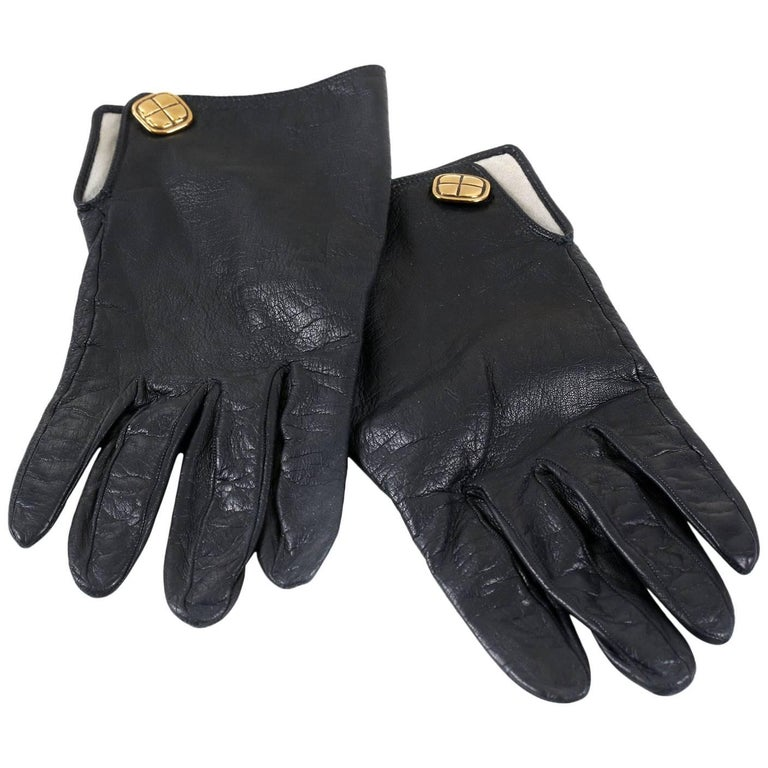 Chanel Black Leather Gloves- size 7