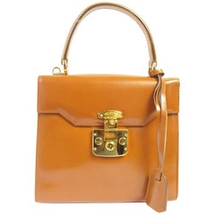 Gucci Top Handle Caramel Leather Bag with Strap