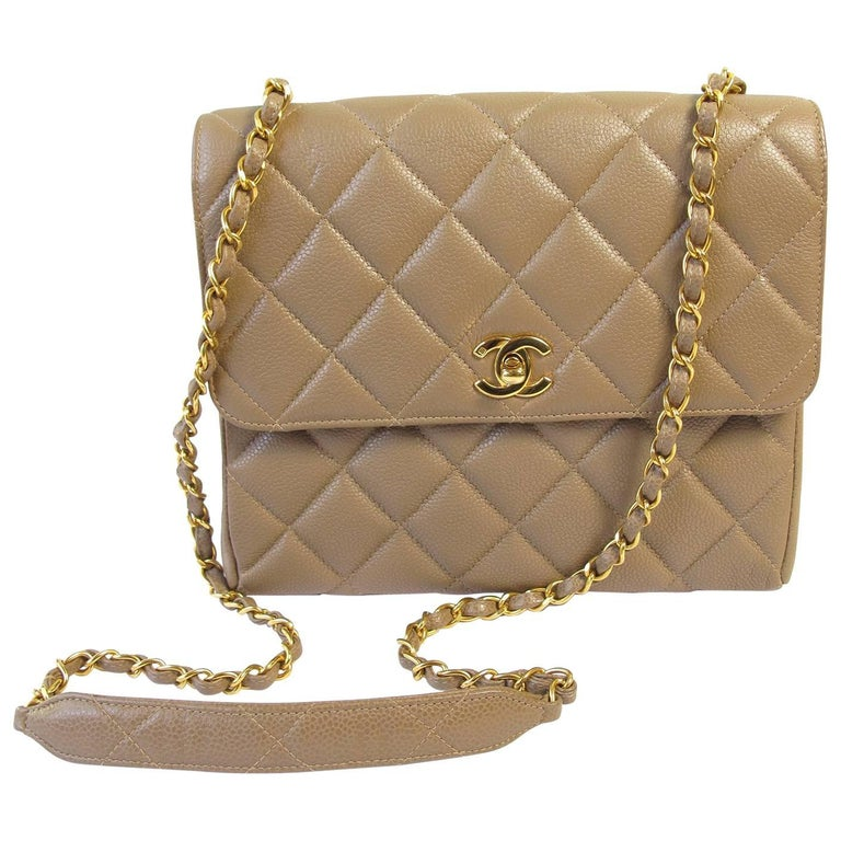2b31df88d0a03 Chanel Taupe Caviar Shoulder Bag For Sale at 1stdibs