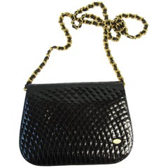 Bally Black Vernis Chain Strap Shoulder Bag