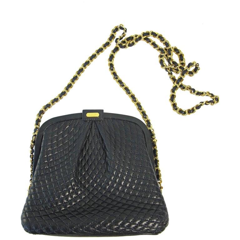 Bally Navy Leather Cross Body Diamond Stitch Pouch Bag