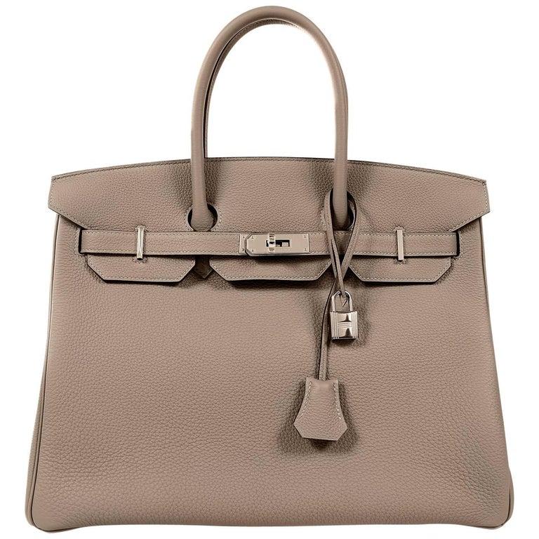 Hermès Etain Togo 35 cm Birkin Bag- Palladium Hardware