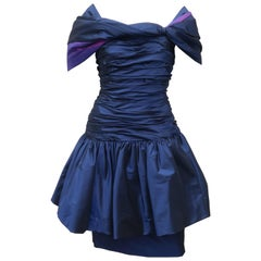 Mignon Blue Taffeta Dress With Dramatic Shoulder Drape, 1980s