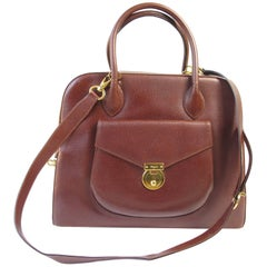 Ferragamo Brown Leather Structured Bag