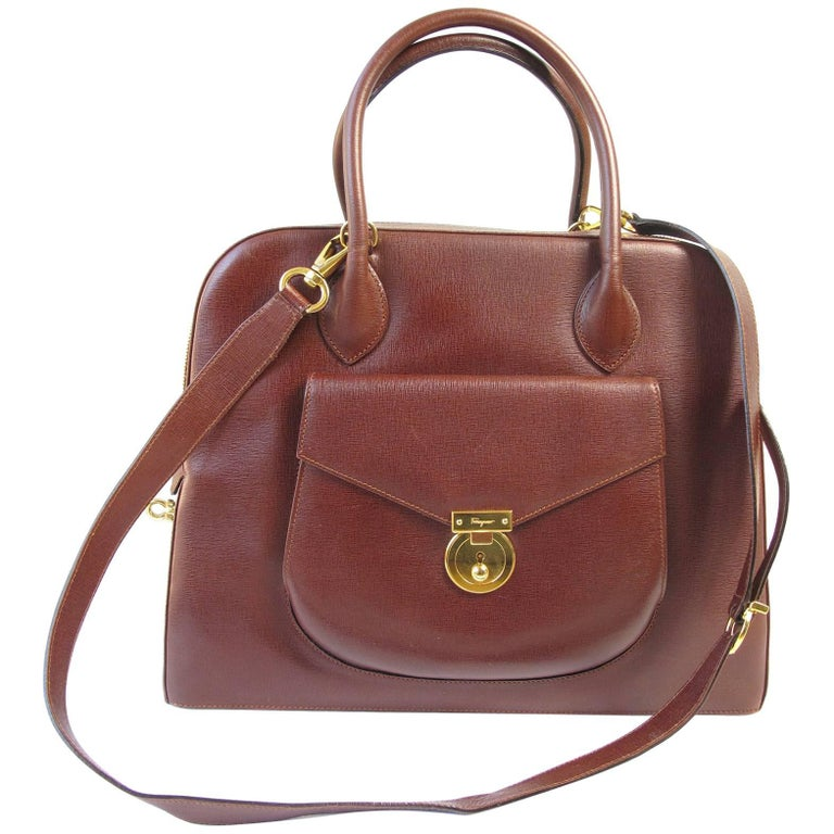 Ferragamo Brown Leather Structured Bag