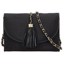 Chanel Black Straw Flap Bag