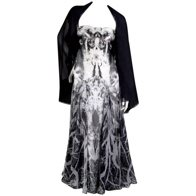 Alexander McQueen Strapless Gown with Black and White Photographic Print, 2010