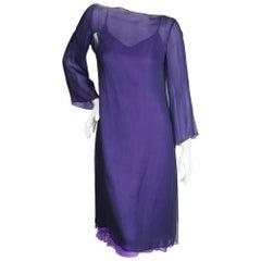 Halston Purple Silk Shift with Slip Dress, circa 1970s