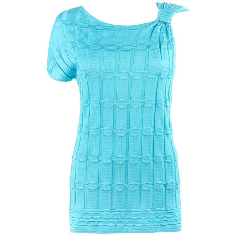 MISSONI Turquoise Blue Knit Asymmetrical One Sleeve Scoop Neck Top NWT