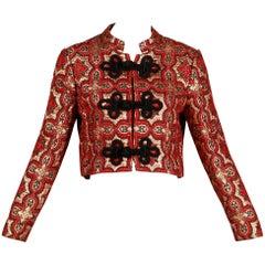 1960s Vintage Red, Black + Metallic Gold Brocade Tapestry Jacket